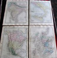 Large Collection of 23  Coloured  World Maps by Sidney Hall  1860 (3 of 4)