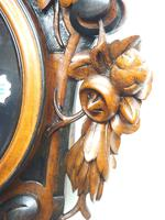 Rare Antique French Carved Dial Wall Clock 8 Day Movement Dial Black Forest Design (2 of 10)