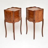Pair of Antique French Inlaid Marquetry Bedside Tables (4 of 10)