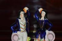 Attractive Pair of Staffordshire Figures of Village Dancers c.1860 (2 of 8)