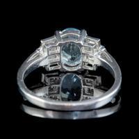 Art Deco Aquamarine Diamond Ring Platinum 1.50ct Aqua c.1930 (2 of 7)