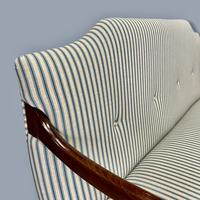 Buttoned Ticking Stripe Sofa & Footstool (8 of 11)