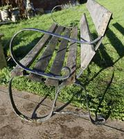 Old Weathered Oak and Iron 6 Bar Garden Bench (3 of 6)