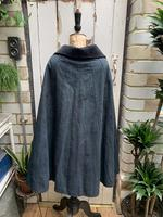 Antique French handmade indigo blue striped linen cape or cloak with black wool collar one size (3 of 10)