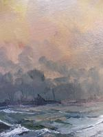 Oil on Board Battle on the Ocean Wave Listed Artist Dion Pears (9 of 12)