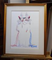 Watercolour Two Clowns Listed Irish Artist Judith Caulfield Walsh (10 of 10)