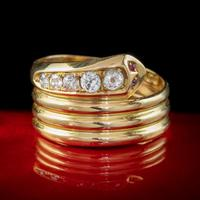 Antique Edwardian Old Cut Diamond Snake Ring 18ct Gold Dated 1916 (7 of 7)