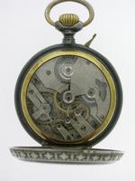 Full Calendar Silver & Gunmetal Open Face Pocket Watch Swiss 1920 (5 of 5)