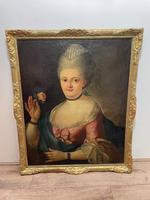 18th Century Oil Painting Portrait Lady In Pink Silk Dress Holding A Rose (4 of 62)