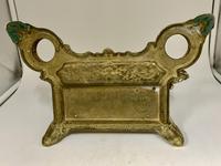 Antique Brass Desk Companion Inkwell Set c.1910 (4 of 8)