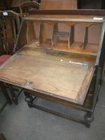 Two Drawer Fall Front Oak Bureau (2 of 3)