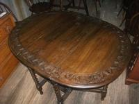 Carved Oak Gateleg Barley Twist Dining Table (2 of 5)