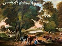Huge Fabulous 19thc Continental Farming Country Landscape Oil Painting (15 of 19)