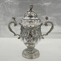 Antique George II Large Rococo Silver Cup & Cover London 1755 William Grundy (3 of 12)