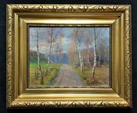 Beautiful Original Antique Vintage Autumn Birch tree Landscape Oil Painting