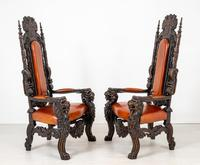 Superb Pair of Oak Throne Chairs (4 of 14)