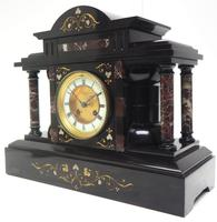 Amazing Mappin & Webb French Slate & Marble Mantel Clock 8 Day Striking Mantle Clock (7 of 10)