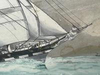 """Edwardian Watercolour """"Champion Of The Seas"""" Ship Black Ball Line Off Cape of Good Hope Signed Pierhead Artist Williams (12 of 39)"""