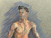 Russian School? Superb 1952 Signed Charcoal Portrait Sketch A Male Model Dancer (6 of 10)