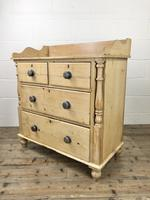 Victorian Antique Pine Chest of Drawers with Gallery Back (6 of 10)