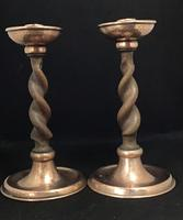 Pair of Arts and Crafts Oak Barley Twist and Planished Copper Candlesticks. (4 of 6)