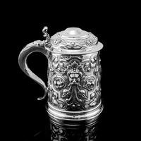 Antique Solid Sterling Silver Large Tankard with Royal Marines Officer Interest - Goldsmiths & Silversmiths Co 1900 (13 of 28)