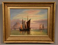 """Oil Painting Pair by George Dodgson Callow """"A Calm, Mounts Bay"""" and """"On the South Coast"""" (2 of 9)"""