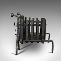 Antique Fire Basket, Andirons, Cast Iron, Fireside, Grate, Fire Dogs, Victorian (3 of 9)