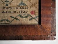 George IV English Adam & Eve Silk on Linen Needlework Sampler, 1825 in Original Frame (7 of 9)
