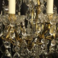 French Gilded Bronze & Crystal 11 Light Birdcage Chandelier (9 of 10)