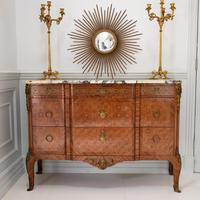 Late 19th Century French Gilt Bronze Mounted Tulipwood & Kingwood Marble Topped Commode (7 of 10)