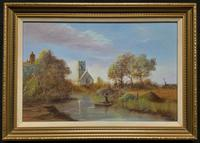 Mid-20thc Punting On The River British Landscape Oil Painting By 'H.R Harrold'