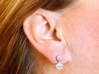 2.64ct Diamond & 18ct Yellow Gold Drop Earrings - Antique c.1920 (9 of 9)