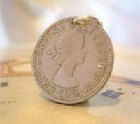Vintage Pocket Watch Chain Fob 1963 Lucky Silver One Shilling Old 5d Coin Fob (2 of 7)