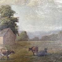Antique Landscape Oil Painting of Farm Buildings with Cows Signed WP Cartwright 1892 (5 of 10)