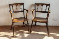 Pair of Ash & Fruitwood Scroll Back Windsor Chairs