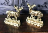 Pair of Victorian Cast Brass Stags (2 of 9)