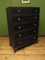 Art Deco Black Painted Chest of Drawers, Gothic Shabby Chic (13 of 13)