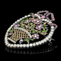 Antique Edwardian Suffragette Paste Heart & Flower Basket Brooch c.1910 (4 of 7)