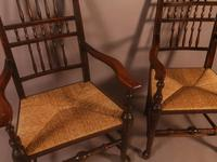 Pair of 19th Century Spindle Back Armchairs with Rush Seats (6 of 6)