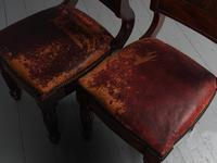 Rare Pair of Brass Inlaid Mahogany & Leather Library Chairs (17 of 19)