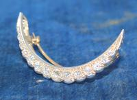 Diamond Crescent Brooch Set with 13 Old Cut Diamonds (2 of 8)