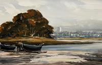 Edward Elliot (1850-1916) Superb Vintage Fishing Estuary Landscape Oil Painting (7 of 12)