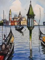Set of 4 Watercolours Venice by Sirrol listed artist Aka Antonio Sirolli 1950s (4 of 10)