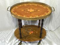 Italian Vintage 20th Century Marquetry Oval Champagne Drinks Server Trolley (6 of 14)