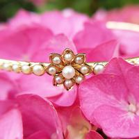 Vintage 14ct Gold French Pearl Floral Bangle (3 of 9)