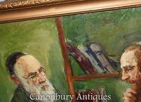 Oil Painting Jew and Rabbi Portrait Antique Yiddish Judaic Art 1930 (4 of 9)