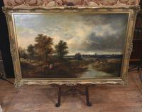 Victorian Oil Painting English Norfolk Landscape Rustic c.1860 Arcadia (2 of 17)
