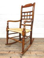 19th Century Rush Seat Rocking Armchair (2 of 9)