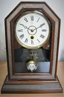 Stylish 1900 German Octogen-Top Mantle Clock by Junghans